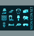sleep time set icons blue glowing neon style vector image