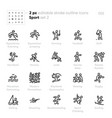 sport and fitness outline icons equestrian vector image