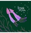 Squids Love Cartoon Greeting Card Design vector image vector image