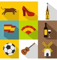 Tourism in Spain icons set flat style vector image vector image