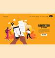 travel app landing page smartphone application vector image vector image