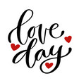 valentines day print handwritten greeting card vector image vector image
