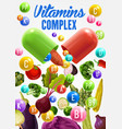 vitamins and minerals in vegetables vegan food vector image vector image