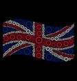 waving united kingdom flag pattern of roulette vector image