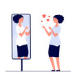 woman at mirror mirrored happy girl cartoon vector image