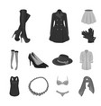 women clothing monochrome icons in set collection vector image