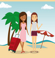 women friendly in the beach vector image vector image