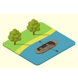 wooden boat isometric vector image