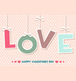 word love set happy valentines day greeting cards vector image vector image