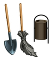 Working tools of janitor vector image vector image