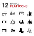 workplace icons vector image vector image