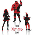 xmas guys silhouettes vector image vector image