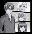 young manga faces cartoons vector image vector image