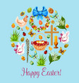 happy easter spring holiday greeting card design vector image