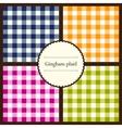 Set of gingham plaid patterns vector image