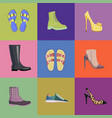 set of women footwear summer and autumn nine icons vector image