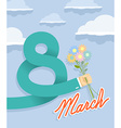 8 march Businessman hand holding bouquet of vector image vector image