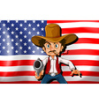 A cowboy in front of the USA flag vector image vector image