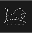bison logo one line design silhouette vector image