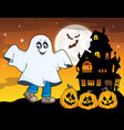 boy in ghost costume theme image 1 vector image vector image