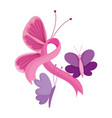 breast cancer awareness month flying butterflies vector image vector image