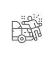 car knocks down a man crash line icon vector image