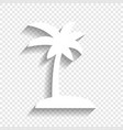 coconut palm tree sign white icon with vector image vector image