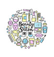 cosmetics and beauty icons in trendy linear vector image
