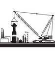 crawler crane is mounting tower in chemical plant vector image