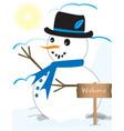 cute looking snowman vector image vector image