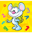 cute mouse cartoon with school bag vector image vector image