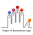 Fingers and businessman logo design templat vector image vector image