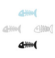 fish bone icon in cartoonblack style isolated on vector image