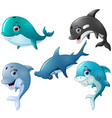 fish cartoon set collection vector image vector image