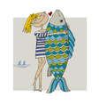 girl and big fish vector image vector image