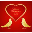 golden birds pigeons and heart valentines vector image vector image