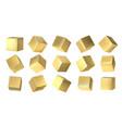 golden cubes realistic 3d blocks yellow metal vector image