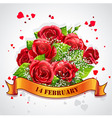 Greeting card Happy Valentines Day with red roses vector image