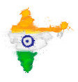 grunge map india with indian flag vector image