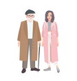 happy grandfather and granddaughter dressed in vector image vector image
