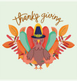 happy thanksgiving day cartoon turkey with hat vector image vector image
