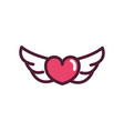 happy valentines day wings hearts love romantic vector image