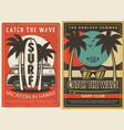hawaii vacation and surfing club retro posters vector image vector image