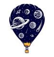 hot air balloon space travel vector image vector image