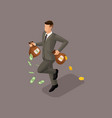 isometric young businessman money profit gold vector image vector image