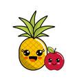 kawaii happy pineapple and apple icon vector image vector image