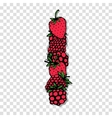 Letter I made from red berries sketch for your vector image