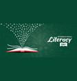 literacy day card concept open book and alphabet vector image vector image
