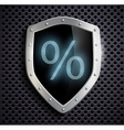 metal shield which shows the percent sign vector image vector image