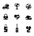 negative space icons set for various topics vector image